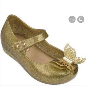 MINI MELISSA Ultra Girl Butterfly gold flats